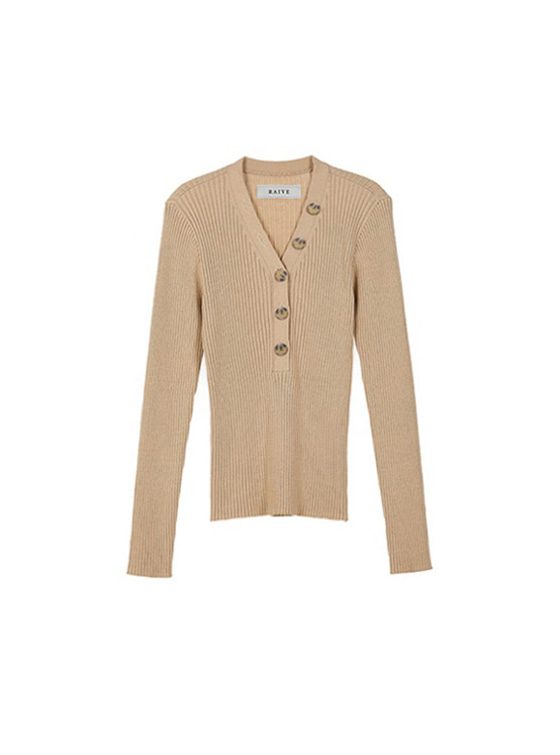 Button V Neck Knit in Beige VK9SP0160