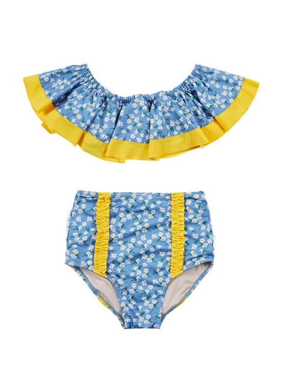 Flower Print Flare Bikini in S/Blue VW9MX0950