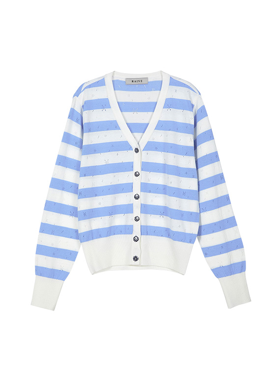 Pastel Stripe Knit Cardigan in S/Blue VK9MD0310