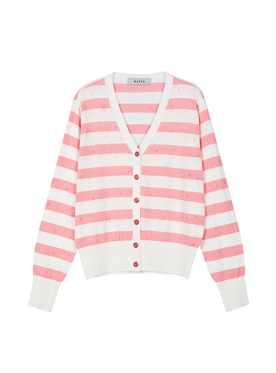 Pastel Stripe Knit Cardigan in Pink VK9MD0310