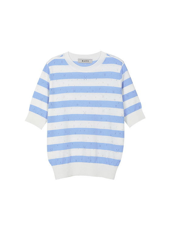 Pastel Stripe Knit Top in S/Blue VK9MP0300