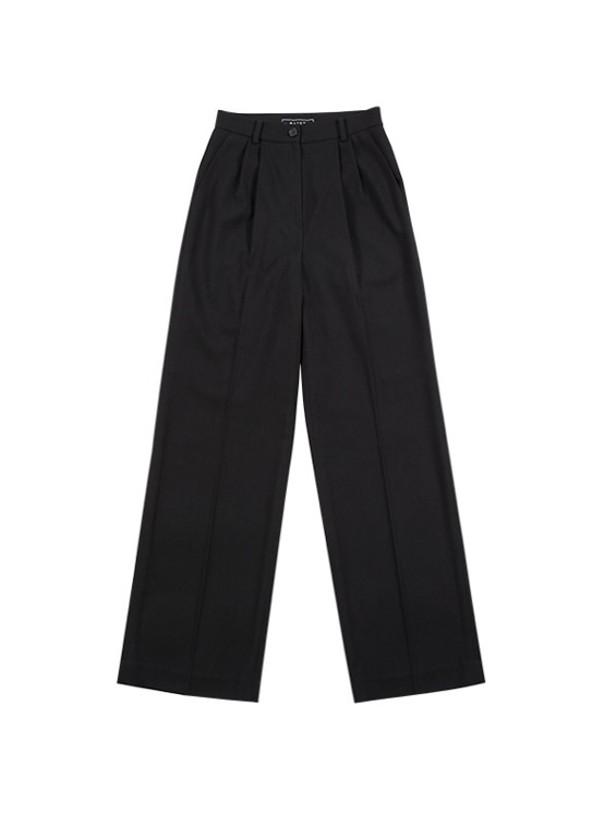 Pintuck Wide Slacks in Black VW9AL0510