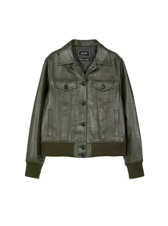 Leather Blouson Jacket in Khaki Brown VL9AJ0380