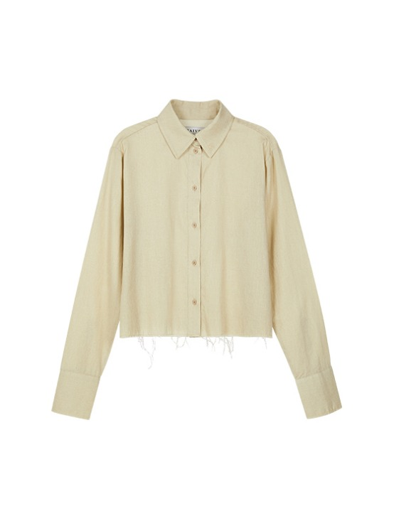 Raw Cropped Shirt in Beige VW9AB0420