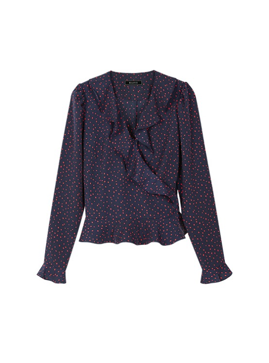 Frill Long Sleeve Wrap BL in Navy VW9AB0600