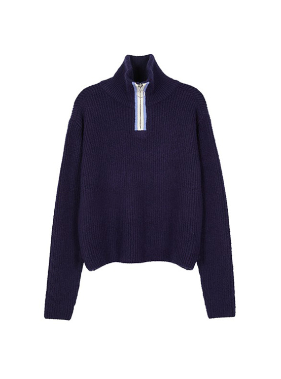 Zip Up Cropped Knit in Navy VK9AP0730