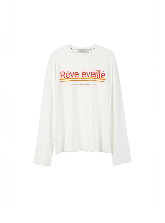 Sleeve Slit Words Tee in White VW8AE0640