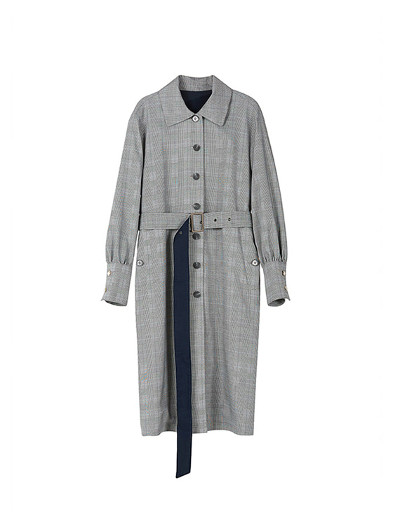 Puff Sleeve Trench Coat in Grey+Check VW8AR0120