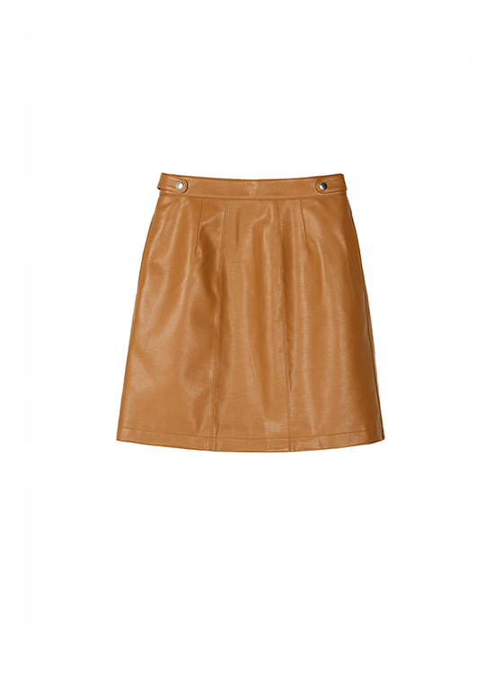 Synthetic Leather Skirt in Brown VL8AS0310