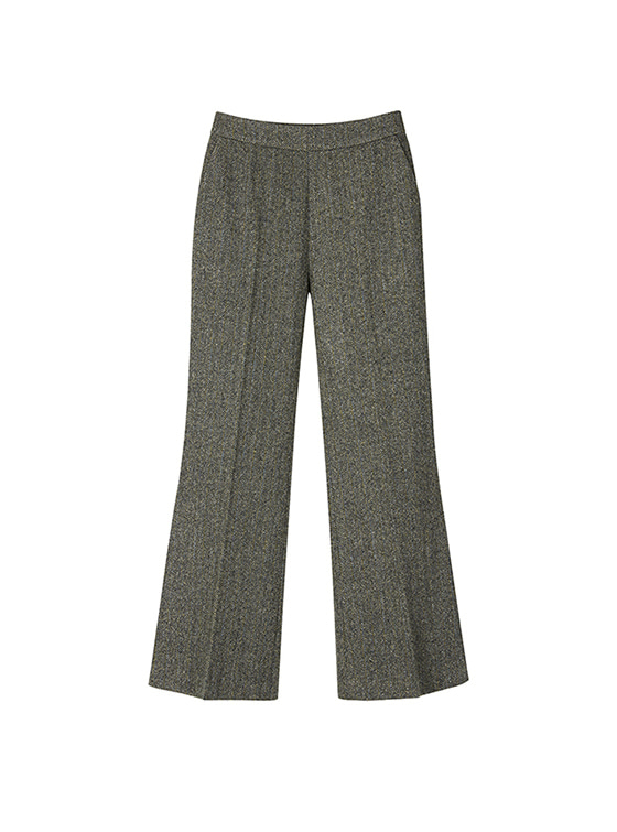 Herringbone Slit Slacks in Grey+Black VW8AL0870