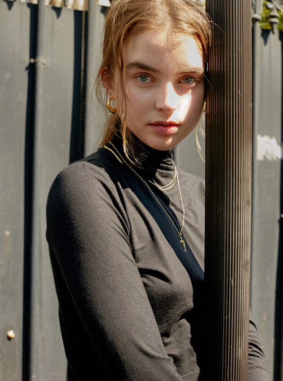 See-through Turtleneck in Black VW8AE0630